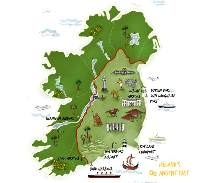 Ireland's Ancient East - illustrated map